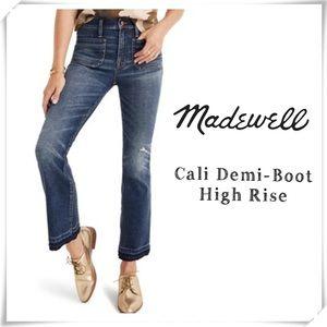 Madewell Cali Demi-Boot High Rise Cutoff Jeans